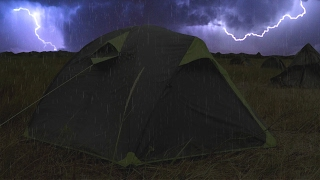 Download ⚡️ Thunderstorm & Rain On Tent Sounds For Sleeping ~ Lightning Drops Downpour Canvas Ambience Video
