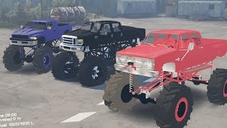 Download Spintires Mods - Mega Mud Trucks - Chevy VS Ford VS Dodge - Proving Grounds Swamp Video