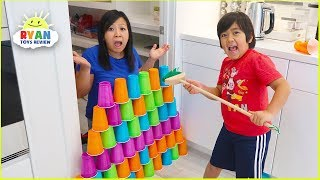 Download Ryan Pretend Play stacking Game with Giant Cup Wall Video