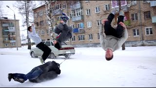 Download Russia + winter = something crazy. Daredevil youths show off cool outdoor stunts Video