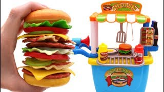 Download Learn Fruits & Vegetables with Giant Toy Cheeseburger & Toy Hamburger Stand Video