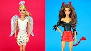 Download 😇😈 DIY Barbie Outfits Good vs. Bad Barbie Halloween Costume Making Easy No Sew Clothes for Barbies Video