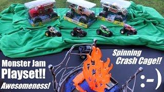 Download Hot Wheels' Monster Jam Trucks Play Set - Crash Cage Action Set Playtime Video