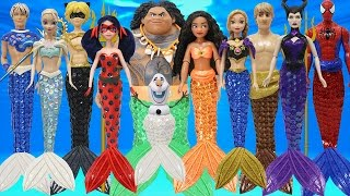 Download Play Doh Mermaid Spiderman Moana Ladybug Cat Noir Maui Elsa Anna Olaf Kristoff Maleficent Jack Frost Video