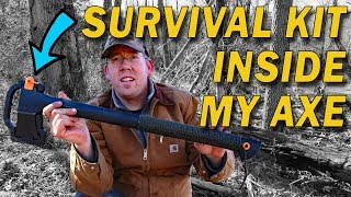 Download Wilderness Survival Kit inside my axe - DIY survival kit & paracord wrap ax handle Video