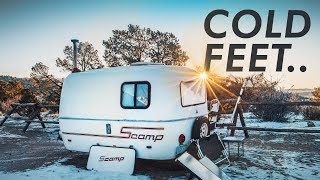 Download WINTER CAMPING - I'm getting cold feet ... // 13ft Scamp Trailer Video