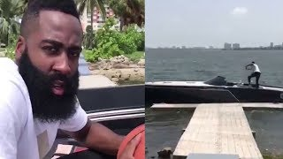 Download James Harden Does the Drive-By Dunk Challenge from a Damn Boat Video
