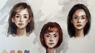Download Watercolor portrait skin colors practice sketch demo by Ch.Karron Video