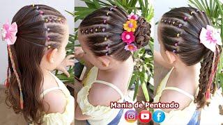 Download Penteado Infantil de ligas coloridas em tiara, meio preso, amarração ou coque Video