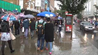 Download (HD) Walking in heavy rain in London (on Camden Market High Street) - 24th August 2013 Video