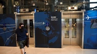 Download Amazing 2011 Mitsubishi traction glass elevators @ Terminal 21 Asoke mall, Bangkok, Thailand Video