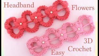 Download Como tejer a Crochet muy fácil diadema con flores en punto 3D tejido tallermanualperu Video