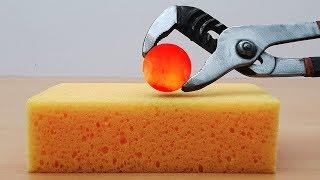 Download EXPERIMENT Glowing 1000 degree METAL BALL vs SPONGE Video