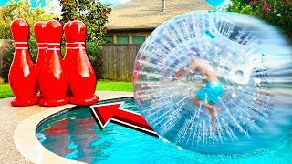Download EPIC HUMAN BOWLING vs POOL CHALLENGE! Video