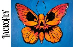 Download Easy Painting in acrylic Butterfly with jack o'lantern Face Video