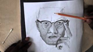 Download Malcolm X speed drawing portrait Video