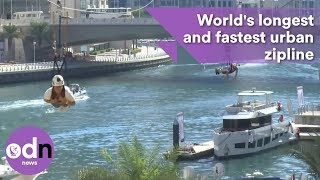 Download Wow! World's longest and fastest urban zipline Video