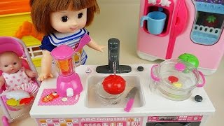 Download Baby Doll Kitchen toys cooking soup & fruit vegetable juice microwave oven Video