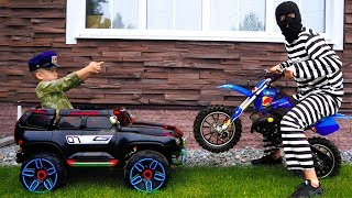 Download Funny Senya Unboxing and Playing Police Car Ride On Power Wheel Police Car and Pit Bike Video