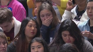 Download Hillary Clinton supporters looking sad on Election Night at Javits Center in New York City Video