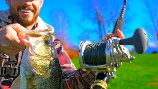 Download Bass Fishing with a GIANT REEL Challenge!!! Video
