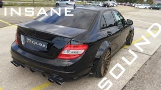 Download MERCEDES C63 AMG - MONSTER SOUND ACCELERATION ONBOARD AUTOBAHN BURNOUT   AC Performance Video