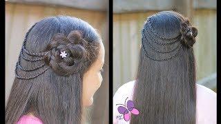 Download Peinado de Ligas con Trenzas y Flor   Peinados para Cabello Largo Video