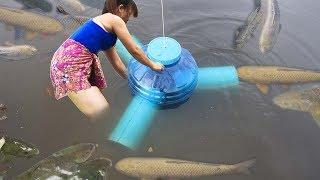Download Wow ! El niña CREATIVO utiliza PIPA DE PVC con una botella de plástico para HACER TRAMPA DE PECES Video