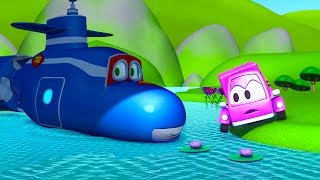 Download Carl the Super Truck transforms into a Submarine to help the Little Pink Car in Car City | Cartoons Video