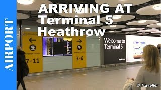 Download Arriving at London Heathrow Terminal 5 - London Heathrow Airport in the United Kingdom Video