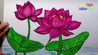 Download Vẽ hoa sen đơn giản - How To Draw Lotus Step By Step - Easy Drawing Video