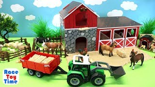 Download Farm Barn Playset For Horses and Fun Animals Toys For Kids Video