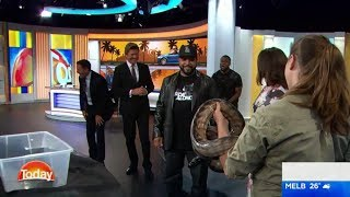 Download Kevin Hart freaks out over snake on The Today Show - Karl Stefanovic Video