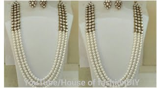 Download How To Make Latest Pearl Chain Jewellery||Kundan Jewellery..! Video