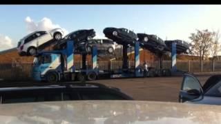 Download Unloading 11+ car transporter in Milton Keynes Video