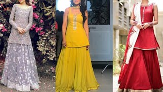 Download beautiful new lehenga with short kurta design ideas/indian wedding season outfits/simple dresses Video