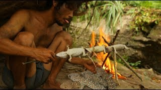 Download Bushman Catching Gecko Lizard In forest and Grill Gecko eat in the Cave Video