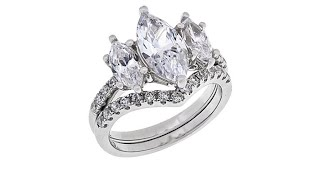 Download Absolute Sterling Silver 3Stone Marquise 2piece Ring Set Video