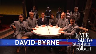 Download David Byrne Performs 'Everybody's Coming To My House' Video