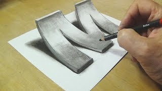 Download How to Draw 3D Letter M - Drawing with pencil - By Vamos Video