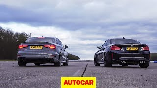 Download Drag race: Audi RS3 vs BMW M2, rolling race | What's the fastest £50k compact car? | Autocar Video