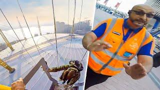 Download INSANE SECURITY ESCAPE!! O2 ARENA SUNRISE CLIMB Video