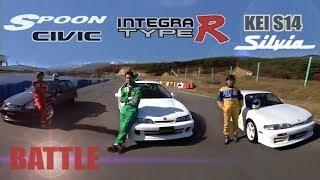 Download [ENG CC] Integra Type R vs. Spoon Civic vs. Kei Office S14 Silvia battle Ebisu HV18 Video