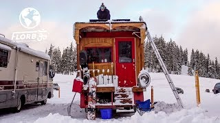 Download SNOWBOARD PRO Converts FIRETRUCK into TINY HOME to Live at Mt Bachelor Video