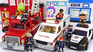Download Playmobil Police car, Ambulance, Fire truck move! Let's arrest the villain! #PinkyPopTOY Video
