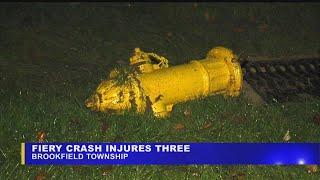 Download 3 hurt in fiery Brookfield crash Video