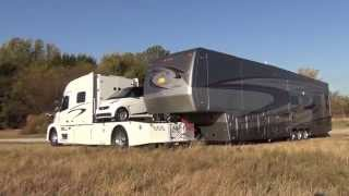Download RV Hauler Jackknifes with Smart car and 45 Foot 5th wheel Video