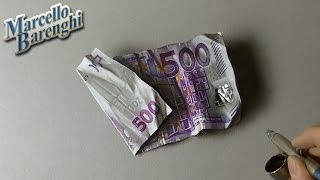 Download Drawing Time Lapse: 500 euro note - hyperrealistic art Video