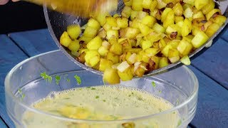 Download Cook Dumps Fried Potatoes in Raw Eggs — What's Planned Will Be The The Dish Of Your Dreams! Video