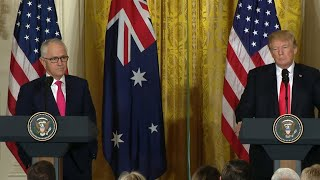 Download Trump takes questions during join press conference with Australian PM Video